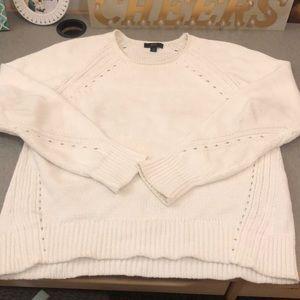 j crew white pointelle detail sweater
